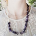 Handmade necklace with amethyst and pearls